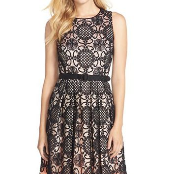 Women's Eliza J Belted Lace Overlay Chiffon Fit & Flare Dress,