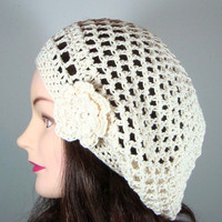 Organic Cotton Tam Beret Hat in Cream by MelsBellsClocheHats