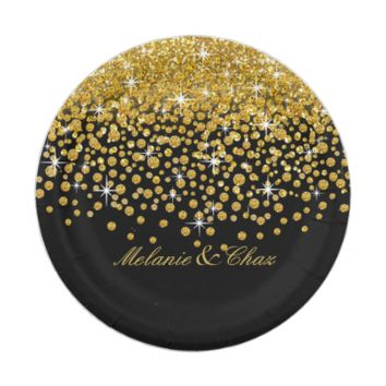 Glitter Confetti Shower | gold black 7 Inch Paper Plate  sc 1 st  Wanelo & Shop Black And Gold Paper Plates on Wanelo