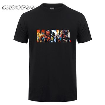 Marvel Short Sleeve T-shirt Men Superhero print t shirt O-neck comic Marvel shirts tops men clothes Tee