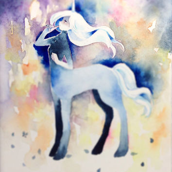"Original Watercolor Painting F0-size ""夜おろす合図"" the signal that night is falling  - fantasy illust,Centaur,unicorn,paper mounted on wood panel"