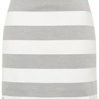 Striped Scallop Hem Mini Skirt - White