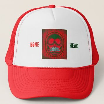 Green Red Skull - Bone Head Trucker Hat