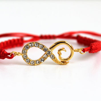 Gold Plated Infinity Charm Friendship Bracelet with Red Adjustable Macrame Cord