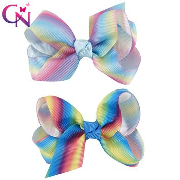 """20 Pieces/lot 3"""" Rainbow Hair Bows With Alligator Clips For Kids Girls Small Handmade Ribbon Bows Hairpins Hair Accessories"""