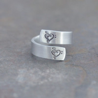 heart music notes - hand stamped twist ring - music inspired ring