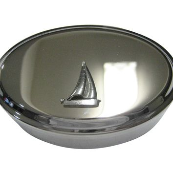 Silver Toned Textured Nautical Sail Boat Oval Trinket Jewelry Box