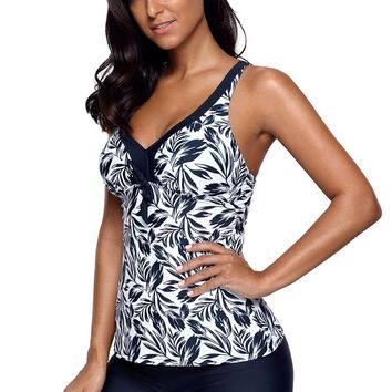 Echoine Navy Blue Leafage Print Tankini Swimsuit 2018 New Women Sexy V Neck Padded Swim Tank Top Boyshorts Plus Size Swimwear
