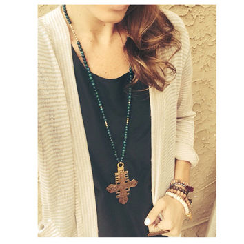The Heran Necklace-  Ethiopian Coptic Cross Pendant in Black Onyx or Teal Quartzite