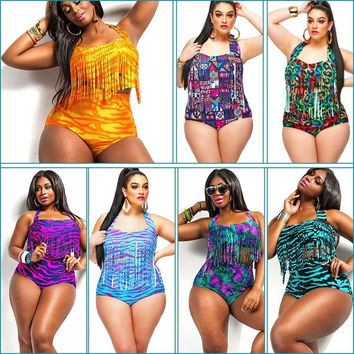 Plus Size L-4xl Print Fringe High Waist Swimsuit Tassels Bathing Suit Swimwear Push Up Bikini For Fat Women = 1958601348