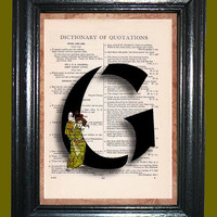 Oriental Letter G with Olive Green Oriental Lady Drama Actress with Mask - Vintage Dictionary Book Page Art Upcycled Page Art Collage Art