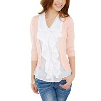 Allegra K Women Layered Shirts Ruffle Top 3/4 Sleeve Casual Fall Blouses