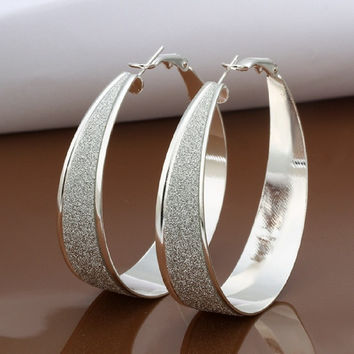 Elegant Fashion Jewelry 925 Silver Plated Stud Dangle Earings Eardrop Big Scrub Wide Oval = 1958172100