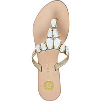 Gold leather embellished sandals - flat sandals - shoes / boots - women