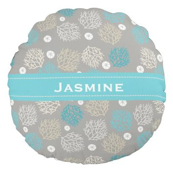Coral Reef and sand dollar beach theme personalize Round Pillow