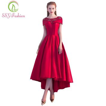 New Luxury Red Satin Evening Dress The Bride Banquet Elegant Sequins High Low Asymmetry Knee-length Prom Party Gown