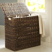 PERRY DIVIDED HAMPER & LINER- HAVANA WEAVE