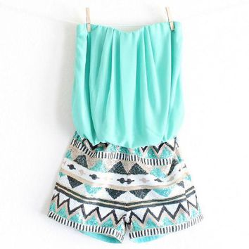 MDIGON1O strapless aztec sequin romper | turquoise Day First