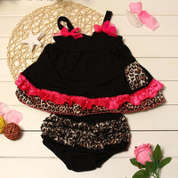 Fashion Cotton Lovely Baby Kids Girls Ruffled Bloomers Nappy Cover Top Dress+Pants Leopard Black = 1929590148