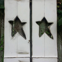 "PAIR Of Primitive DISTRESSED Country White Prim Star LARGE 11"" x 36"" 3-Foot Wood Star Shutters Others Sizes Colors Available Shabby Chic"
