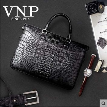 VNP crocodile leather handbag, men's leather business, crocodile briefcase, luxury hand woven men's bags