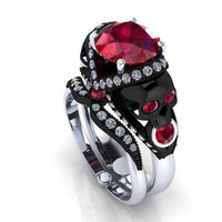 Skull Engagement Ring with Garnet Center