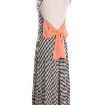 Open Back Stripe Maxi Dress with Bow- FREE Shipping