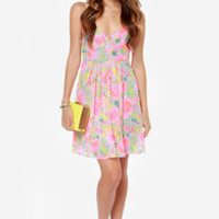 Fleur of the Moment Neon Pink Floral Print Dress