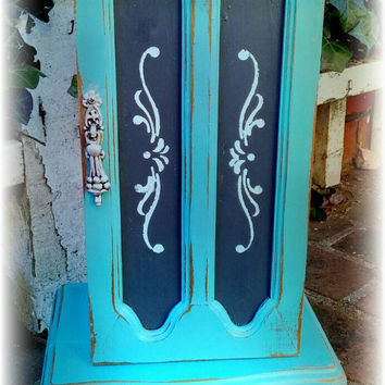 Shabby chic jewelry box, Distressed jewelry box, rustic jewelry box, teal jewelry box, painted furniture, girls gift idea, large jewelry box
