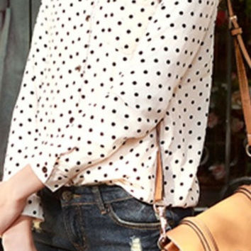 New Hot Fashion Casual Women Blouses Vintage Polka Dot Chiffon Blouses Long Sleeve Lapel Shirts 3 Colors Drop Shipping J6009 = 1705982724