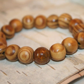 Coffee Round Wood Dragon Vein Bracelet, 11mm Spacer Stretch Bracelet, Natural Beaded Wrist Beads Gifts with Intention