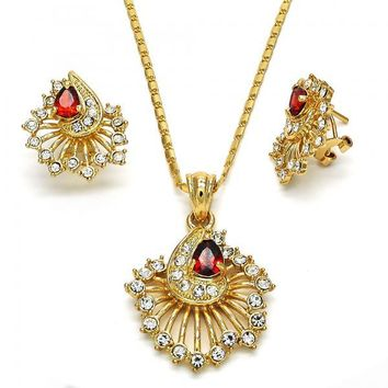 Gold Layered Necklace and Earring, Teardrop Design, with Crystal and Cubic Zirconia, Golden Tone