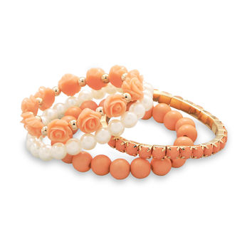 Set of 4 Peach and Imitation Pearl Fashion Bracelets