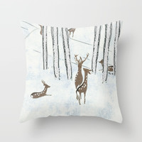 Deers in the snow Throw Pillow by anipani