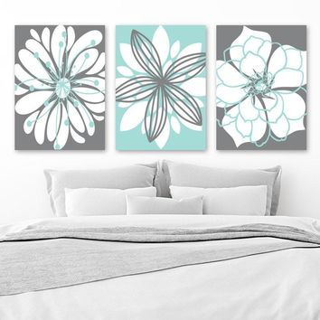 Bathroom Decor, Gray Aqua Bathroom Wall Art, Dahlia Flower CANVAS or Prints, Aqua Gray Floral Bedroom Wall Decor, Set of 3 Floral Home Decor