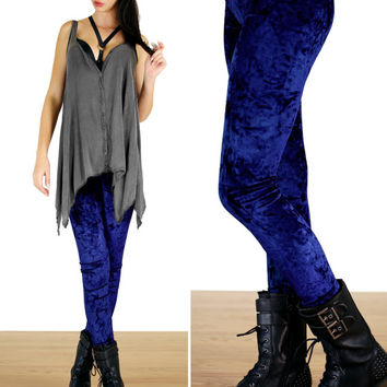 90's Sapphire Navy Blue Gray Grunge Crushed Velvet Leggings