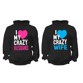 XtraFly Apparel Crazy Husband Wife Valentine's Matching Couples Hooded-Sweatshirt Pullover Hoodie