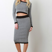 Melange Ribbed Knit Midi Pencil Skirt