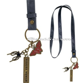 Licensed cool DC  WONDER WOMAN Faux Leather Keychain Lanyard charms LOGO NAME ROPE STAR