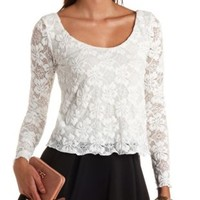 Long Sleeve Swing Lace Crop Top by Charlotte Russe - Ivory