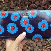 Kate Spade Cameron Street Tangier Floral Lacey Zip Around Wallet Peacock Blue