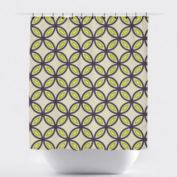 Lime/Gray Circle Shower Curtain