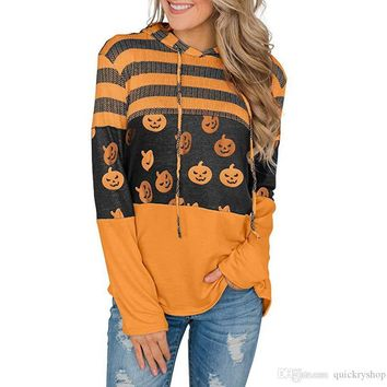 Women's Halloween Long Sleeve Striped Color Block Hoodies Casual Loose Patchwork Knit Pullover Hooded Sweatshirts