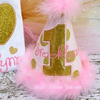 Pink and Gold Girls Birthday Hat - personalize it with name and age