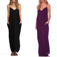 Plain Spaghetti Strap Maxi Dress