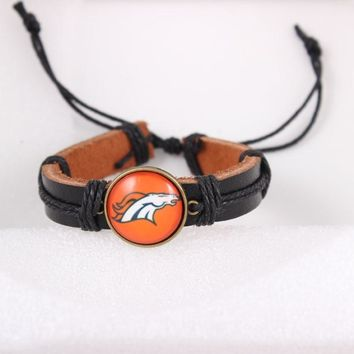 2018 American Sport Fashion Leather Bracelet For Women Men Unisex Wrap Denver Broncos Charm Female Friendship Gift 6pcs/lot