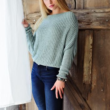 * Between This And That Knit Top: Light Sage