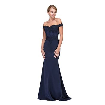 CLEARANCE - Lace Appliqued Bodice Long Formal Dress Off-Shoulder Navy Blue (Size 2XL)