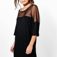 Zahiah Mesh Insert T-Shirt Dress