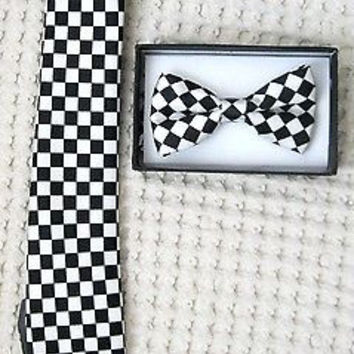 Black&White Checkers Adjustable Bow tie and  Black&White Checkered Necktie-V1
